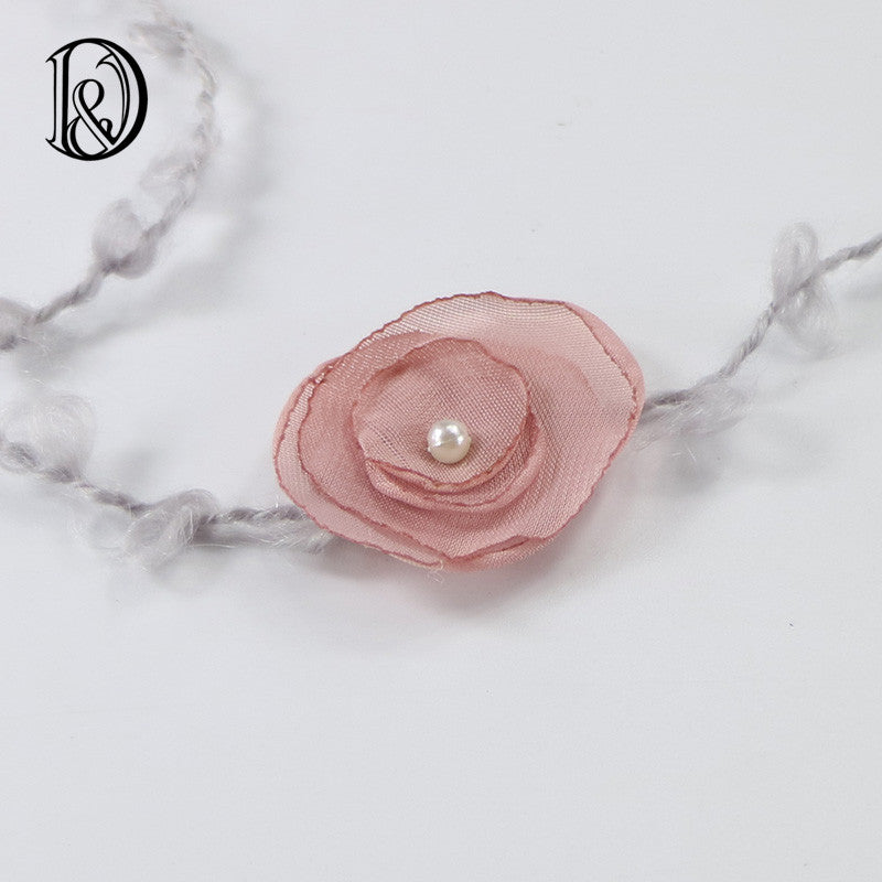 (6pcs/lot) Mix Color Handcraft Chiffon Flower With Pearl Mohair Belt Baby Gril Photography Props Baby Shower Newborn Photo Props