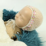 Newborn Props Baby Photo Hand knit Mohair Flower Edge Baby Bonnet Soft - Don&Judy Newborn&Maternity photography props