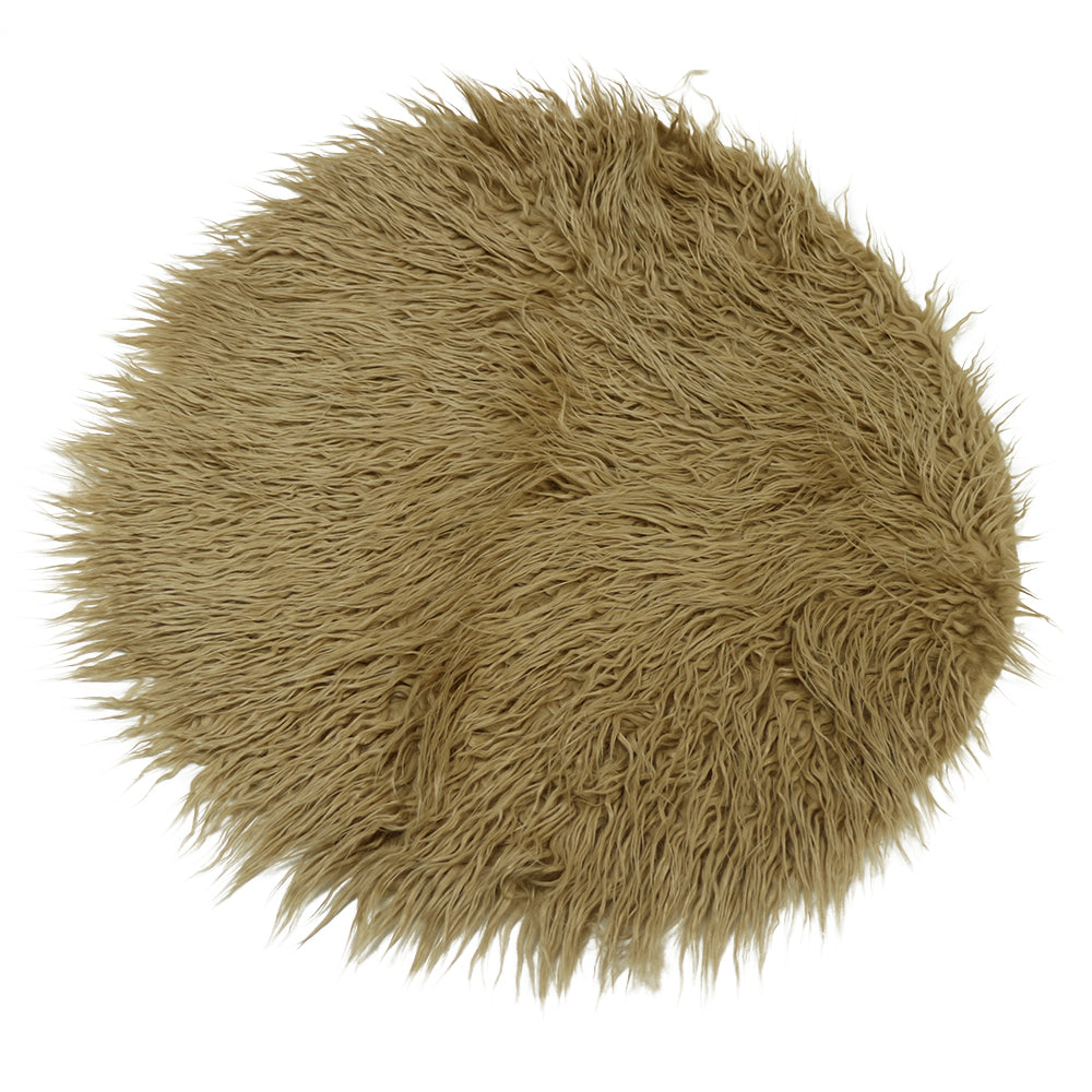 Diameter=60cm Faux Fur Round Cushion Blanket Photography Props Newborn Photography Props