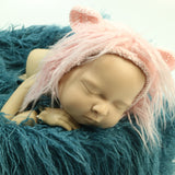 Handknit Baby Bonnet with Fur around Newborn Photography Props - Don&Judy Newborn&Maternity photography props