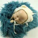 Handknit Newborn Baby Bonnet with Fur around - Don&Judy Newborn&Maternity photography props