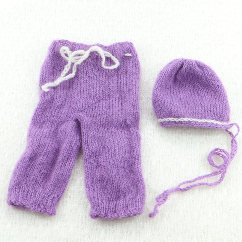 Newborn Photo Props Clearance Handknit Pants with matched Bonnet(set) - Don&Judy Newborn&Maternity photography props