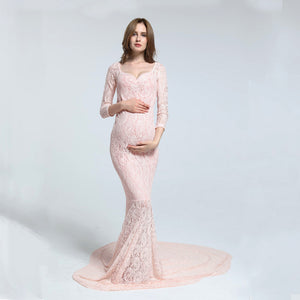 Stretch Lace free size maternity long sleeves dress Off the Shoulder Strapless Dress maternity photography props bowknot style