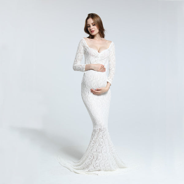 Soft Lace Long Sleeve Maxi Mermaid Maternity Shoot Dresses - Don&Judy Newborn&Maternity photography props