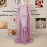 Super Long Sleeves Maternity Gown Stretch Chiffon Maternity V-neck Dress Maternity Photoshoot Dress - Don&Judy Newborn&Maternity photography props