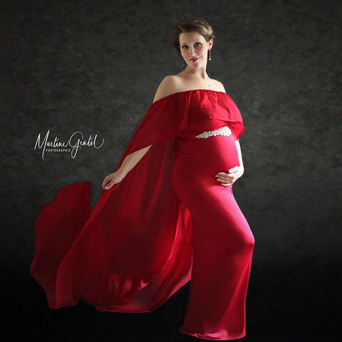 Stretch Maternity Photo Dress with matched Cloak Crystal Belt Maternity Gown for Photoshoot