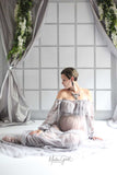 Bohemian Maternity Boob Tube Dresses for Photo shoot Long Sleeve Pregnant Gown Maternity Photography Prop