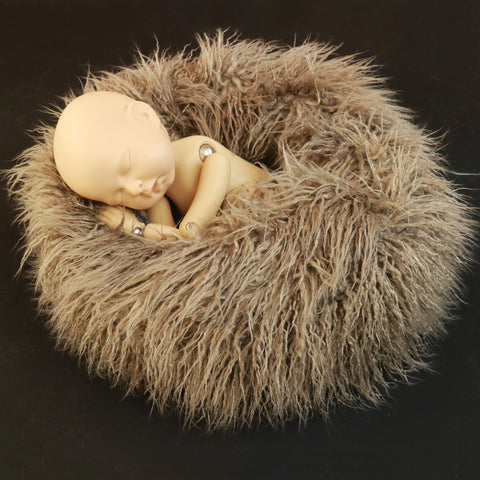 Newborn Nest Prop Mongolian Curly Pile Faux Fur Newborn Posing Circle Newborn Photo Props - Don&Judy Newborn&Maternity photography props