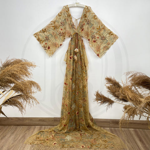 Nonmaternity Robe Photo Shoot Costume Free Size Boho V-neck Long Sleeve  Embroidery Floral Tulle Maternity Gown Photography Evening Party Dress Baby Shower Photo Props Kaftan Maternity Couture