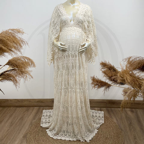 Spring Session Nonmaternity Floral Women Clothing Free Size Boho V-neck Long Sleeve Lace Maternity Gown Photography Dress Party Dresses Baby Shower Photo Props Kaftan Robe Maternity Couture for Photo Shoot