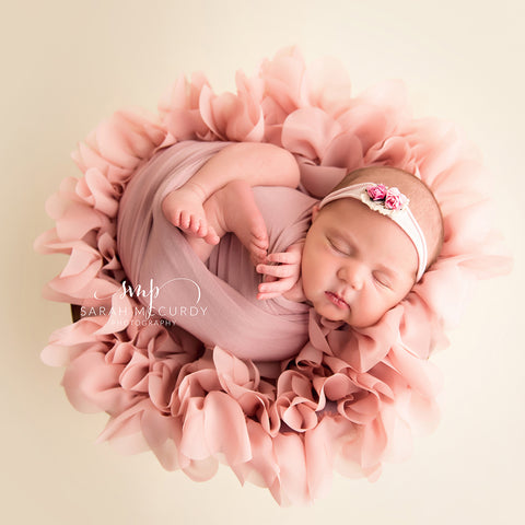 Handcraft Soft Chiffon Round Flower Blanket Newborn Photo Outfit for Newborn Baby Photography Props