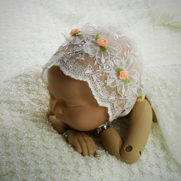 Handcraft Baby Lace Bonnet with Flower Edge Newborn Photo Props - Don&Judy Newborn&Maternity photography props