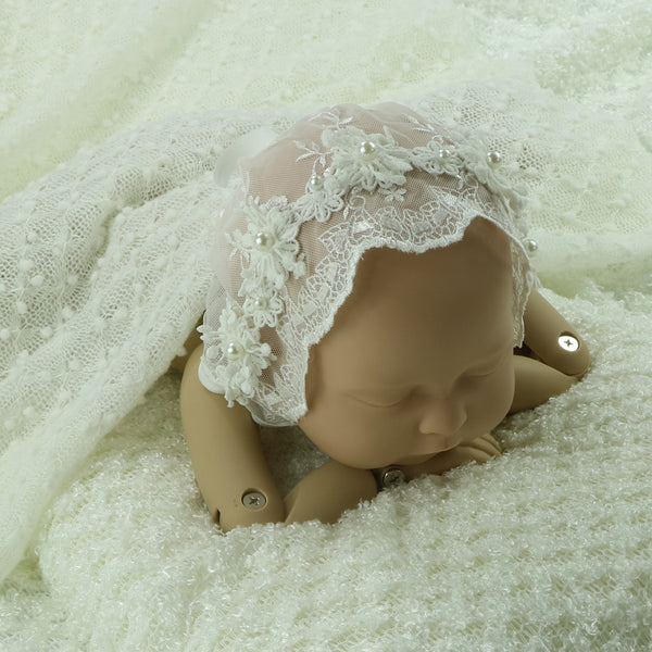 Handcraft Newborn Baby Girl Lace Bonnet with Pearl - Don&Judy Newborn&Maternity photography props