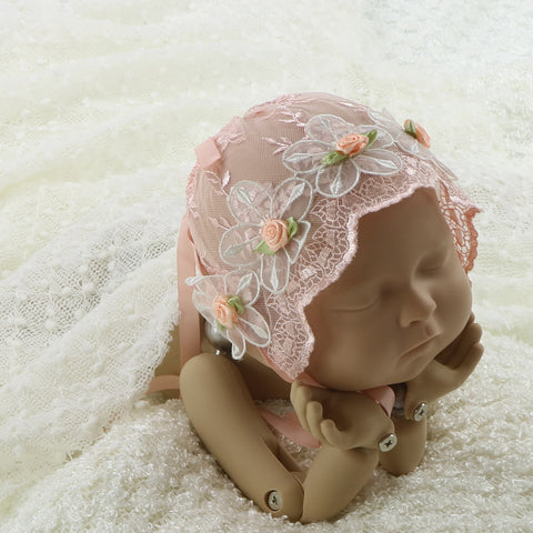 Handmade Baby Girl Lace Bonnet with Floral Newborn Props Photography - Don&Judy Newborn&Maternity photography props