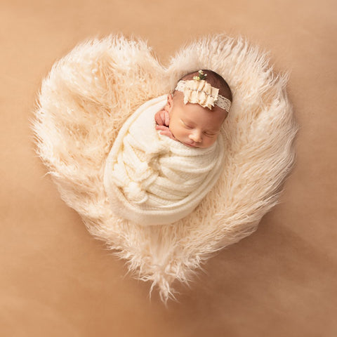 Sweet Heart Newborn Faux Fur Mongolia Newborn Blanket for Photography Long Pile Faux Fur