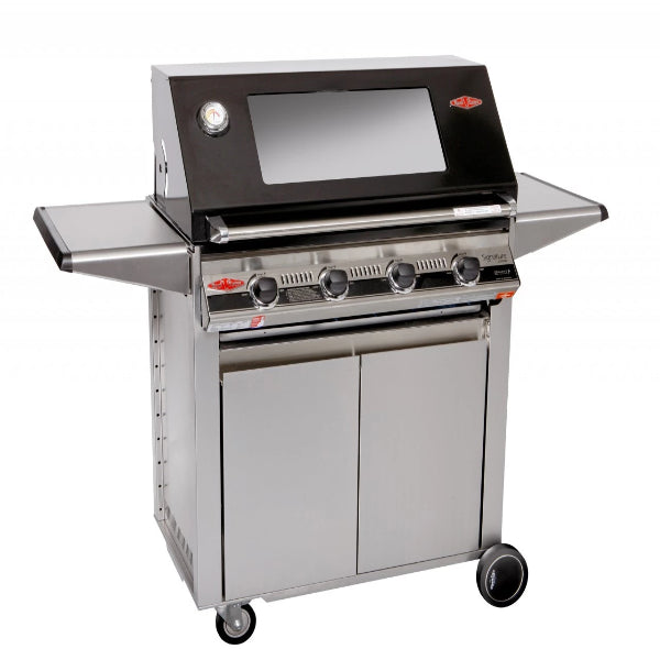 Beefeater Signature® 3000E 4 Burner; Glass Hood; Stainless Steel Designer Trolley 19242