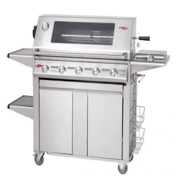 Beefeater Signature 3000ss 5 Burner; (SS  cock pack) Glass Hood; Stainless Steel Plus Trolley  19640