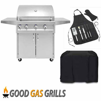 "Artisan 32"" Natural Gas Grill Professional Series Natural Gas Grill with Rotisserie on Cart ARTP-32C-NG"