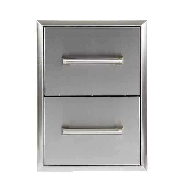 "Outdoor Kitchen Coyote 16"" Stainless Steel Double Access Drawers C2DC"