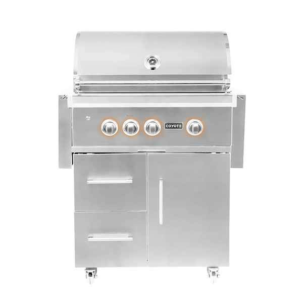 "Outdoor Grill Coyote S-Series 30"" Freestanding 3 Burner on Liquid Propane w/RapidSear Infrared Burner & Rotisserie C2SL30NGFS"