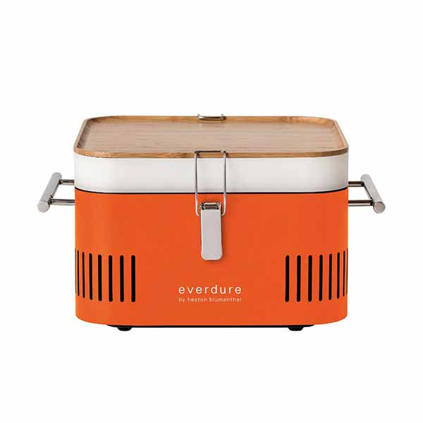 "Everdure 17"" Charcoal Grill Orange Portable Cube HBCUBEOUS"