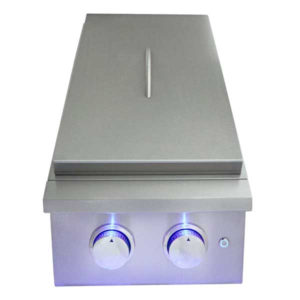 RCS Premier Series Built-in Natural Gas Double Side Burner with LED Lights RJCSSBL