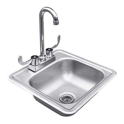 "RCS 15"" x 15"" Outdoor Rated Stainless Steel Drop-in Sink With Hot/Cold Faucet RSNK1"