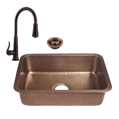 "RCS 23"" x 17"" Copper Undermount Sink with Pull Down Hot/Cold Faucet RSNK4"