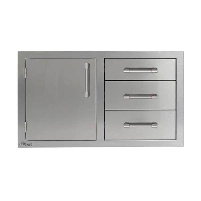 Alfresco 32 Left Hinged Door & Triple Drawer Combo Axe-Ddc-L - Grill Accessory