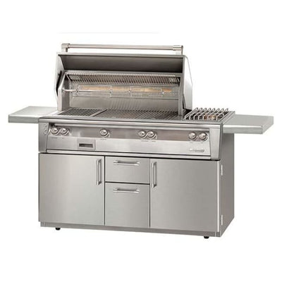 Alfresco 56 Searzone Grill With Sideburner On Cart Alxe-56Szc-Lp - Outdoor Grills
