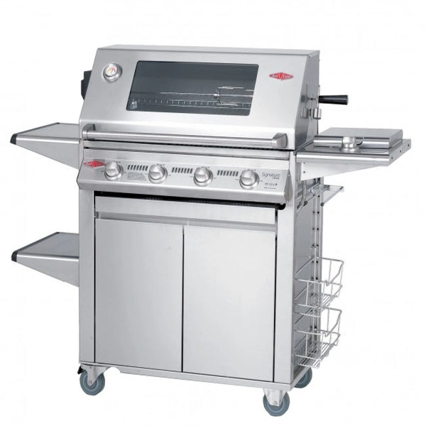 Beefeater Signature 3000ss 4 Burner; (SS  cock pack) Glass Hood; Stainless Steel Trolley  19440