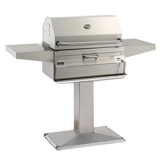 Fire Magic Legacy 24 Meat Smoker Charcoal Grill On Patio Post 22-Sc01C-P6 - Outdoor Grills