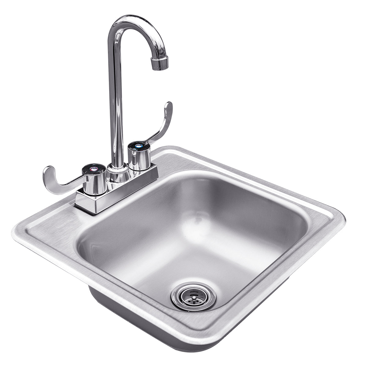 "Summerset  Sink, Drop In - 15"" x 15"" Stainless Steel with Hot and Cold Faucet-SSNK-15D"