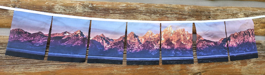 FlagScapes by WyoWhy- The Tetons - a dynamic way to display your favorite mountain range.  Suitable for indoor and outdoor use.  100% Cotton - Proudly Made in Wyoming!