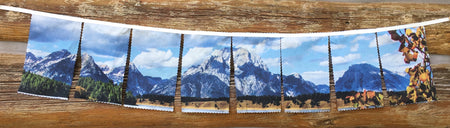 FlagScapes by WyoWhy - Mount Moran - a dynamic way to display one of the most beautiful mountains in the world!  Suitable for indoor and outdoor use. 100% cotton.  Proudly Made in Wyoming!