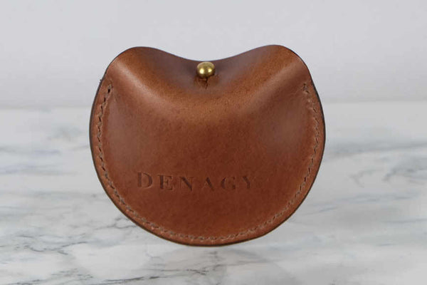 Clam Shell Leather Coin Pouch