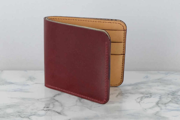 Shell Cordovan 6 Card Bifold Leather Wallet