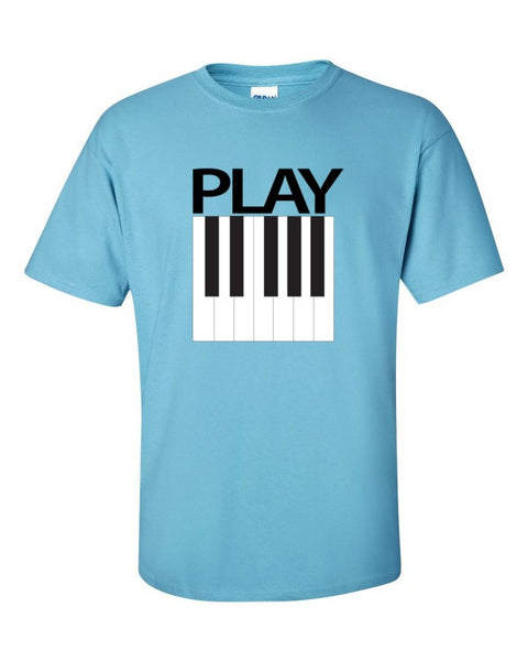 Play Piano Front Chest Short Sleeve t-shirt