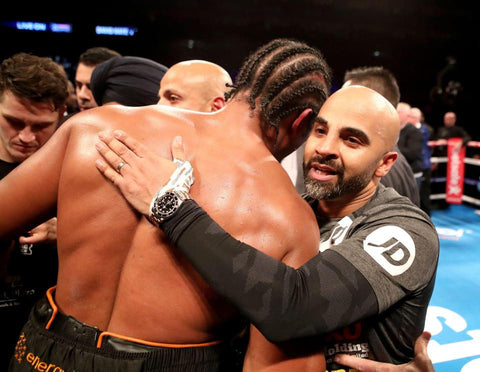 Coldwell with Haye after Bellew Fight