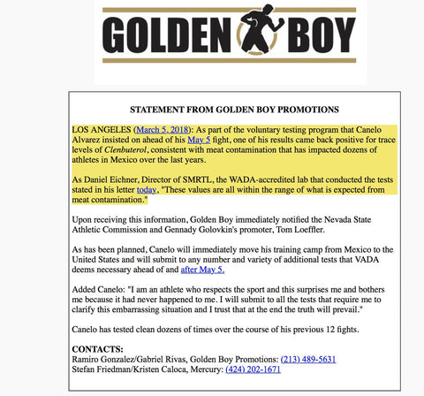 Golden Boy Statement on Canelo