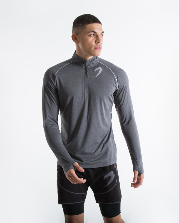 Perez 1/4 Zip Top - Charcoal