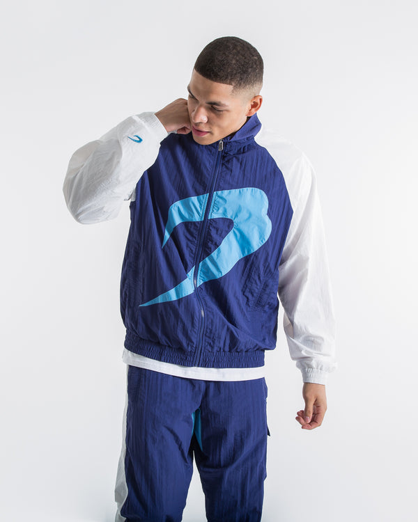 Walker Track Jacket - White/Navy - BOXRAW