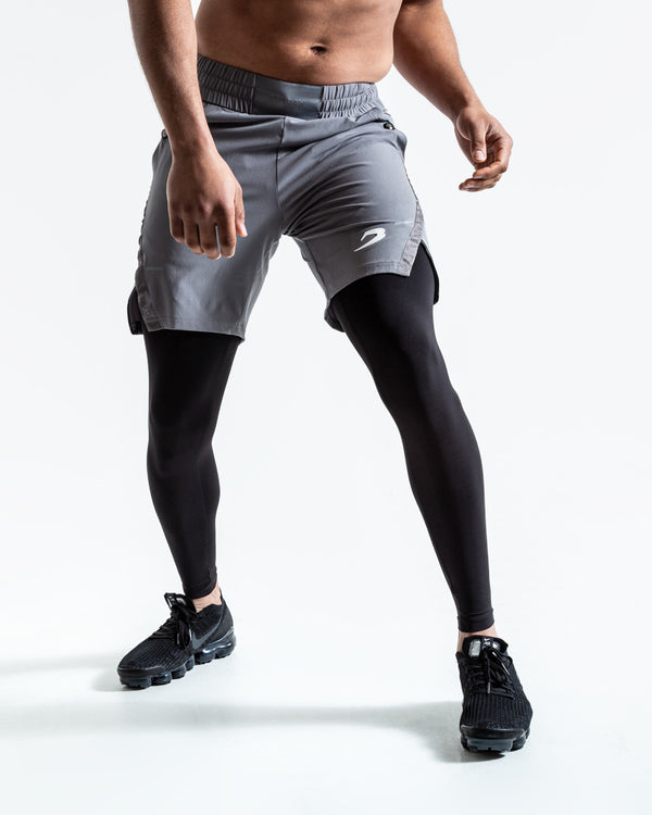 Pep Shorts (2-In-1 Training Tights)- Grey/Black
