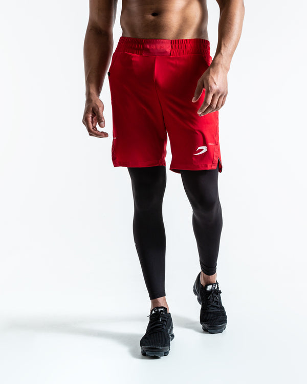 Pep Shorts (2-In-1 Training Tights)  - Red/Black