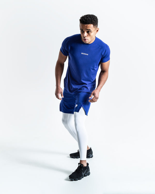 Pep Shorts (2-In-1 Training Tights) - Blue/White