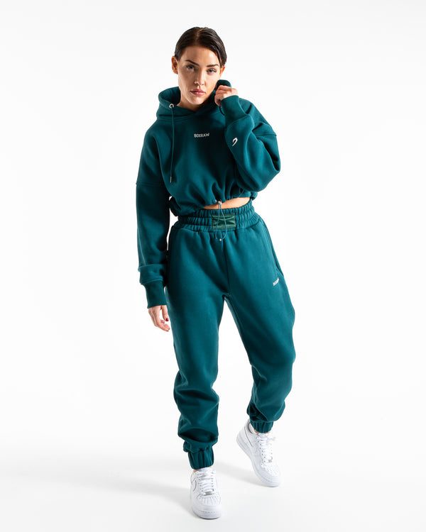Johnson Cropped Hoodie - Teal