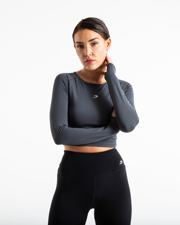 Crop Top Long Sleeve - Charcoal