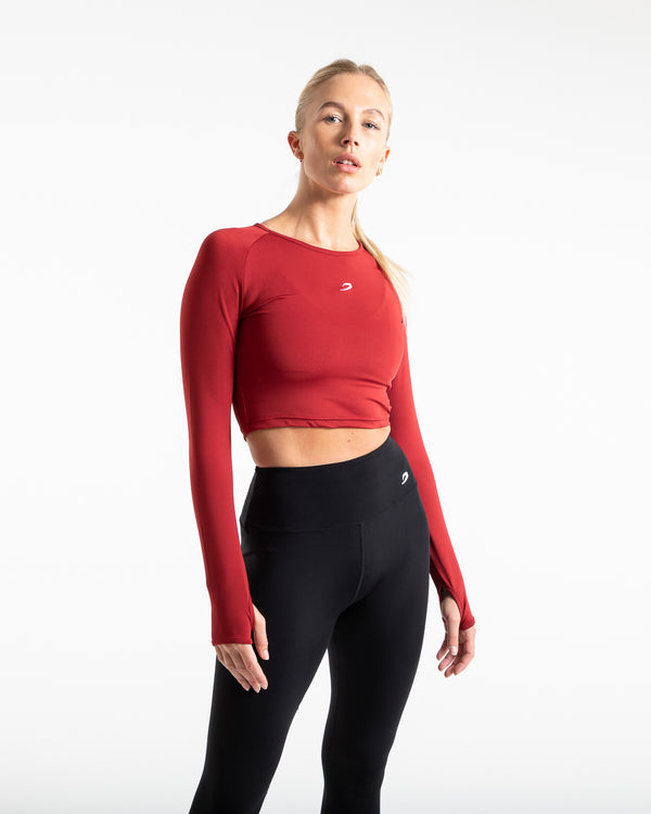 Crop Top Long Sleeve - Red