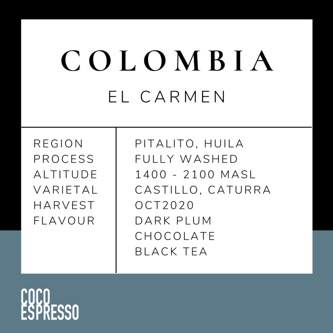 水洗 Colombia El Carmen (Fully Washed) 200g