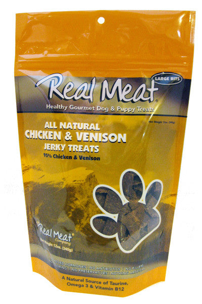 Real Meat All Natural Chicken & Venison Jerky treats